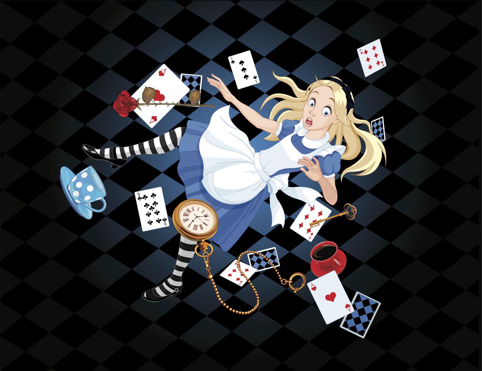 Alice Falling Into the Rabbit Hole